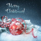 Christmas background with red bubble on show, text Stock Photography