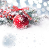 Christmas background with red bubble on show, text space Royalty Free Stock Image