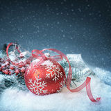 Christmas background with red bubble on show, text space Stock Image