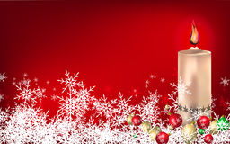 Christmas background. Red Christmas background with candle and balls Royalty Free Stock Photos