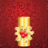 Christmas background. Red christmas background with candle and holly Royalty Free Stock Images