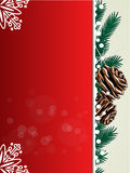 Christmas background, red card with twigs, cones and snowflakes - EPS 10 Stock Photos