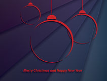 Christmas background with red christmas balls. On abstract background Stock Image