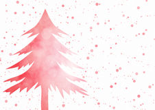 Christmas background - Red Christmas tree with sparkle light bokeh effec. T on white background, watercolor paint vector illustration