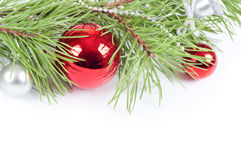 Christmas background with red decoration Stock Photos
