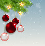 Christmas background with red decorations Stock Images