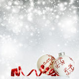 Christmas background with red decorations Stock Photo