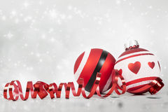 Christmas background with red decorations Royalty Free Stock Photo