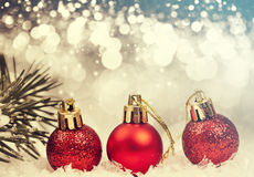 Christmas background with red decorations Royalty Free Stock Photography