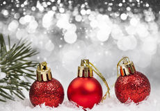 Christmas background with red decorations Royalty Free Stock Images
