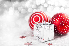 Christmas background with red decorations Stock Photos
