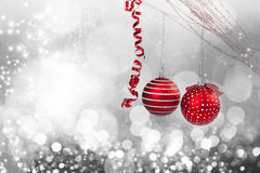 Christmas background with red decorations Royalty Free Stock Photos