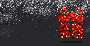 Christmas background with red gift. Black festive Christmas background with red gift. Vector illustration Royalty Free Stock Photography