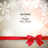 Christmas background with red gift bow. Royalty Free Stock Photography