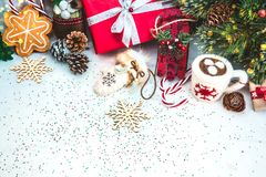 Christmas background with Red gift box Royalty Free Stock Images