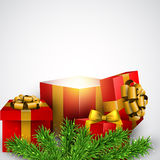 Christmas background with red gift boxes. Royalty Free Stock Photos