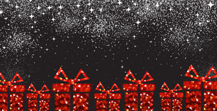 Christmas background with red gifts. Black festive Christmas background with red gift. Vector illustration Stock Images