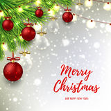 Christmas background with red and glass balls Stock Photo