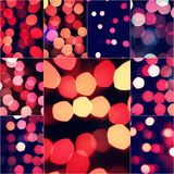 Christmas background with red glow defocused decoration over dark with copy space for your greeting, square format Stock Photography
