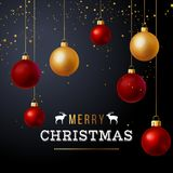 Christmas background with red and gold balls royalty free illustration