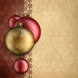 Christmas background - red and gold baubles. And blank space for text Stock Photo