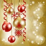 Christmas background in red and gold with copy space Royalty Free Stock Images