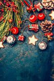 Christmas background with red and gold decorations, cookies and Fir branches, top view Stock Photography