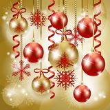 Christmas background in red and gold Stock Photography