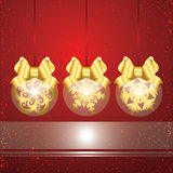 Christmas background. Christmas red and golden background with balls and ribbons Stock Photo