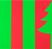 Christmas background - red and green paper and tree Stock Image