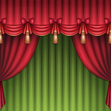 Christmas background, red and green theater or circus curtains Royalty Free Stock Images