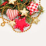 Christmas Background with Red Handmade Decoration stock image