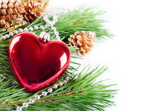 Christmas background with red heart Stock Images
