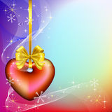 Christmas background with red heart. On golden ribbon, stars and snowflakes Stock Photos