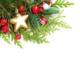 Christmas Background with Red Holly Berries Stock Images