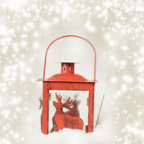 Christmas background with red lantern Royalty Free Stock Photo
