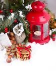 Christmas background with red New Year toys and a lantern Stock Photo