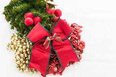 Christmas background with a red ornament, gift box, berries Stock Photos