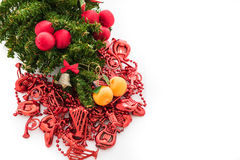 Christmas background with a red ornament, gift box, berries Stock Photo