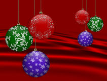 Christmas Background red ornaments Stock Photo