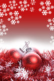 Christmas background with red ribbon and balls Stock Photo