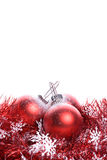 Christmas background with red ribbon and balls Royalty Free Stock Photos