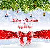 Christmas background with red ribbon. Christmas bright background with green fir tree and red ribbon Royalty Free Stock Photos