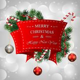 Christmas background with red ribbon and hanging ball. Illustration of Christmas background with red ribbon and hanging ball Stock Image