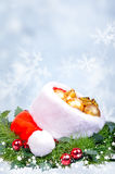 Christmas background with red Santa Claus hat Stock Photography