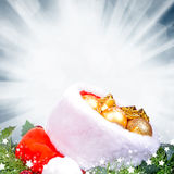 Christmas background with red Santa Claus hat Royalty Free Stock Image