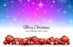 Christmas Background with red shiny baubles for your Seasonal Fl Royalty Free Stock Image