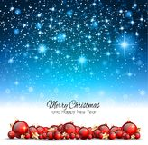 Christmas Background with red shiny baubles for your Seasonal Fl. Yers and Greetings Card or Xmas themed invitations stock illustration