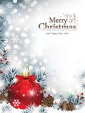Christmas Background with Red Shiny Ornament Stock Photo