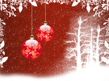 Christmas background. Red christmas background with snow and balls vector illustration